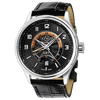 GV2 Men'giromondo black dial black calfskin leather watch