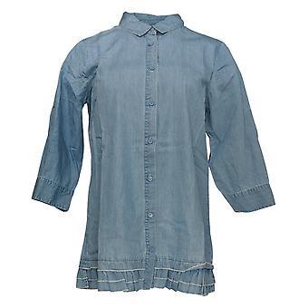 Coleção Joan Rivers Classics Women's Top Denim Shirt Azul A301805