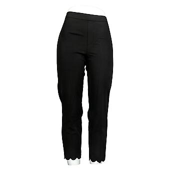 Isaac Mizrahi Live! Mujeres's pantalones Stretch Crop W / Scallop Hem Negro A307992
