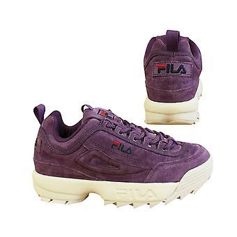 フィラ・ディスラプターS低紫色の白いスエードレースアップレディーストレーナー1010605 71Q B15D