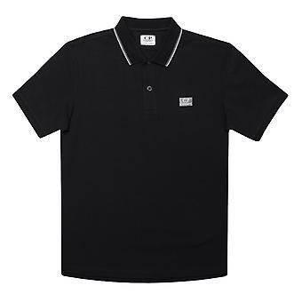 Boy's C.P. Company Junior Getipt Polo Shirt in Zwart