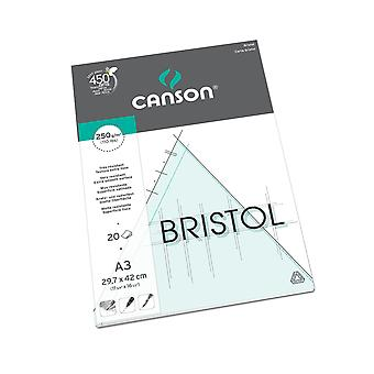 Canson bristol 250gsm paper, high-white & ultra-smooth, a3 pad including 20 sheets a3 - 29.7x42cm