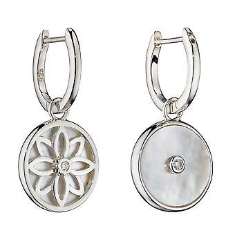 Elements Silver Womens 925 Sterling Silver Pärlemor & CZ Charm Hoop Örhängen