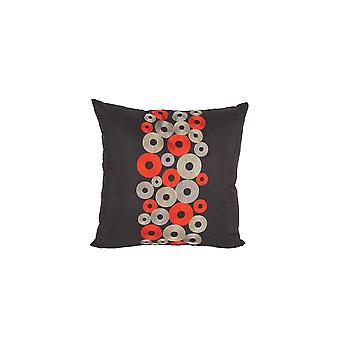 Square Fabric Pillow With Embroidered Circles, Black