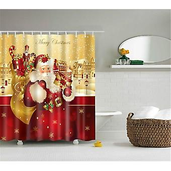 Lighted Christmas Shower Curtain, Printed, Waterproof Curtains, Bathroom Decor