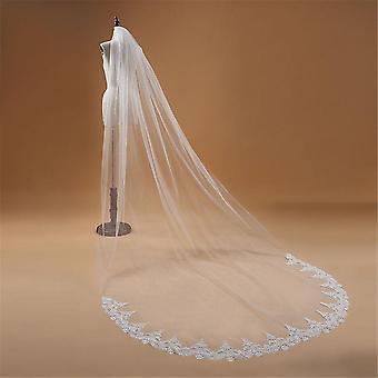 Een laag lace edge kathedraal bruiloft sluier, lange bruid accessoires