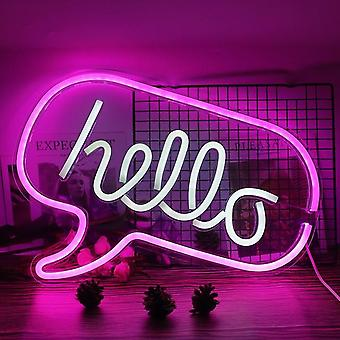 Bonjour Led Neon Light, Neon Sign Panel Holiday Christmas Party Lamp