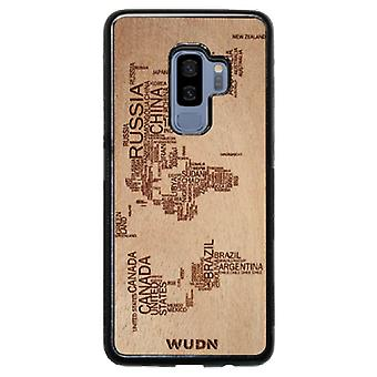 Slim Wooden Phone Case (world Map In Words Traveler In Mahogany)