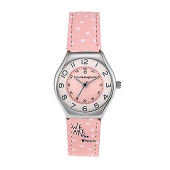 Watch Girl LuluCastagnette MINI STAR Analog White dial and pink Leather bracelet pattern