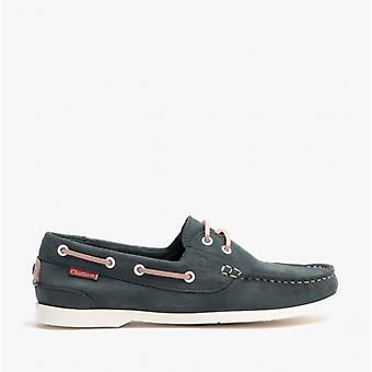 Chatham Willow Ladies Leather Boat Shoes Navy/pink