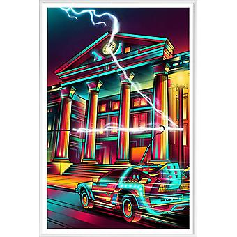 JUNIQE Print -  Hill Valley - Filme Poster in Rot & Türkis