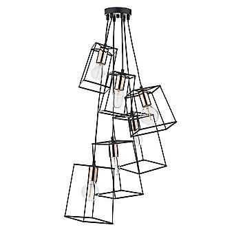 DAR TOWER Cube Wire Frame Cluster Vedhæng Light Black, 6x E27