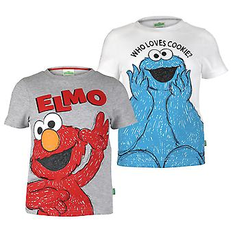 Sesame Street Girls Cookie Monster And Elmo T-Shirt (Pack of 2)