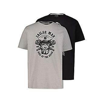 JP 1880 T-Shirts, 2er-Pack T-Shirt, Light Grey, Black, XL Men's
