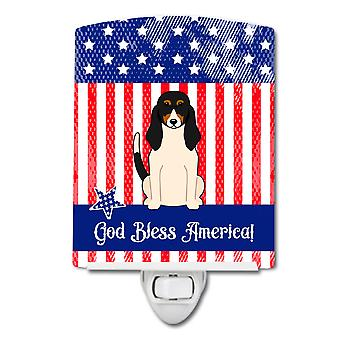 Caroline s Schätze patriotischen Usa Schweizer Hund Keramik Nachtlicht, 6 X 4, Multicolor