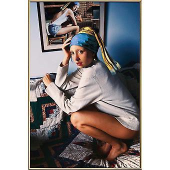 JUNIQE Print - Dziewczyna z perłowym kolczykiem podwójne - zabawny plakat w kremowym kolorze białym i szarym