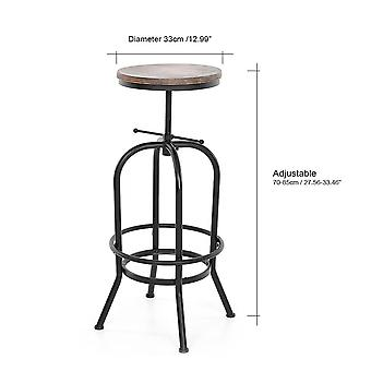 Height Adjustable Swivel Natural Pinewood Top Kitchen Dining Chair