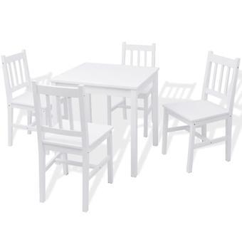 vidaXL Vijfdelige Eettafel Set Pine Wood Wit
