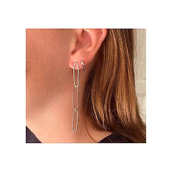 Boho betty dorval silver plain hoop huggie earrings