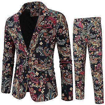 XXL barna férfi 2 darab gyűrött hajtóka virágos 1 gombos slim fit szalagavató tweed öltöny x2359
