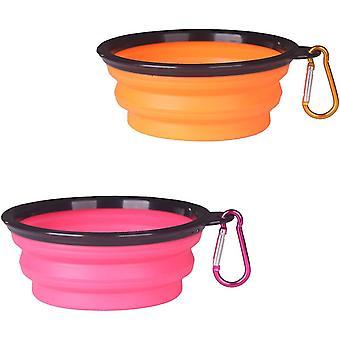 Suuri oranssi*vaaleanpunainen kokoontaitettava koiran kulho 2 pakkaus kokoontaitettava kannettava lemmikkivesi ruokinta dt5835