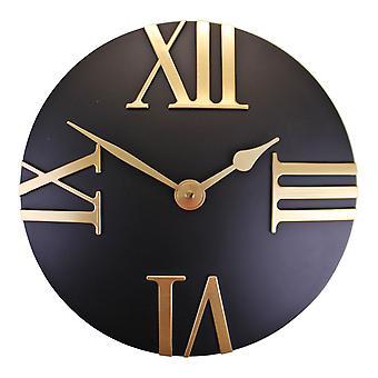Czarny i złoty zegar ścienny, 30cm
