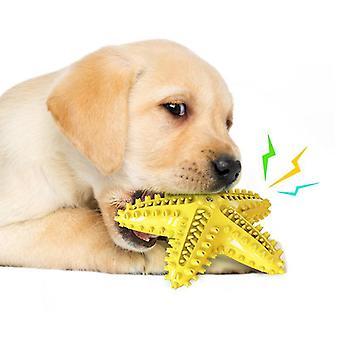 Spazzolini giocattolo da masticare per cani Stelle marine Molari cigolanti (giallo)