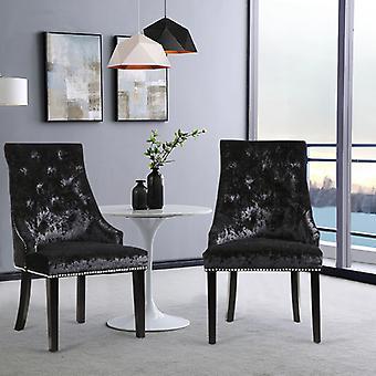 Set mit 2 Crushed Velvet Buttoned Esszimmerstühlen
