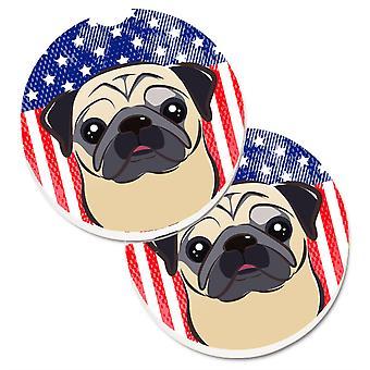 Caroline's Treasures American Flag & Fawn Pug Set di 2 Cup Holder Car Coasters BB2192CARC, 2.56, Multicolor