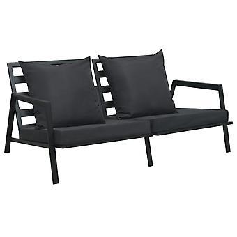 vidaXL 2 canapé-jardin avec des tirages gris foncé aluminium