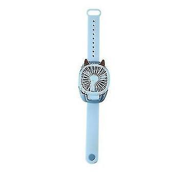 Portable USB Wrist Fan Mini Watch Fan Ventilator LED Light Fans Enfants (Bleu)