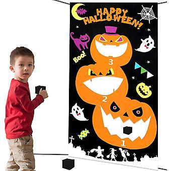 Halloween Party Spiele Wurfspiele Set für Kinder, Kürbis Hängend Werfen Spiel mit 3 Sitzsäcken