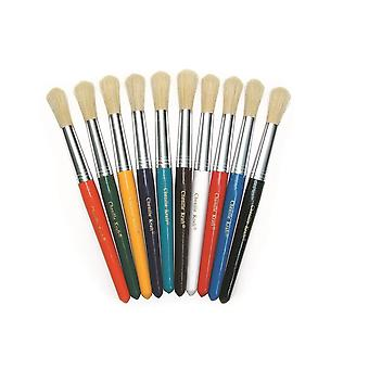 10 Round 21cm Kids Paint Brushes for Arts & Crafts