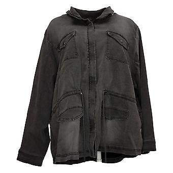 DG2 By Diane Gilman Women's Jacket Plus Stretch Zip Anorak Black 739712