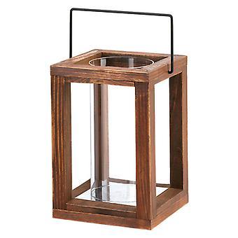 גלריית פנס נר חום מעץ כפרי בהיר - 9 אינץ', חבילה של 1