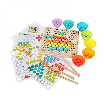 Caraele Montessori Color Sorting Wooden Toys Hands Brain Training Clip Beads Math Toy Game For Children