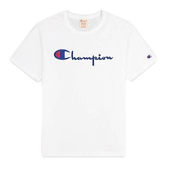 Champion Reverse Weave Script Logo Crewneck 216547WWW001WHT universel toute l'année homme t-shirt