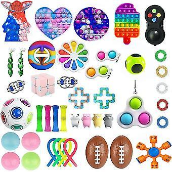 43pcs Angst Linderung Spielzeug Set Push Pop Bubble Nudel Saiten Fidget Spinner