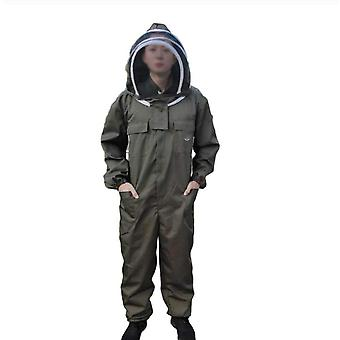 Professional Protective Veil Cotton Long-sleeved Beekeeping Protective Clothing Jumpsuit Cotton Long-sleeved (dark Khaki Color, M)