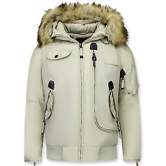 Short Winter Coat - With Fur Collar - Beige