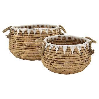 Plutus Brands Water Hyacinth Basket in Brown Natural Fiber Set of 2 - PBTH93300