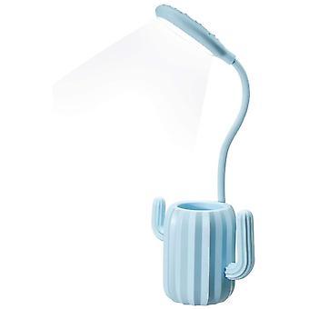 מנורת שולחן קקטוס יצירתית מחזיק עט לילה אור מתכוונן בהירות מגע הוביל קריאת שולחן מנורה עם מחזיק עט שולחן קישוט ילדים להשתמש - כחול