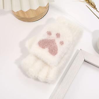 Cartoon Radish Bear Claw Flip Cover Half Finger Imitation Mink Fur Winter Outdoor Warm Gloves