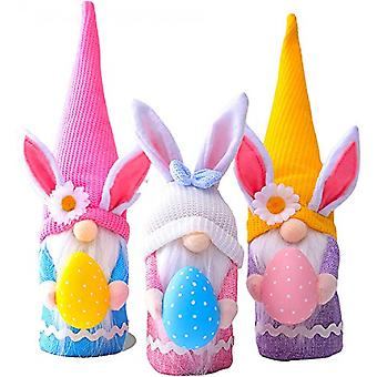 3 Pieces Of Easter Dwarf Rabbit Plush Doll Decorations, Children's/female/male Easter Gift Toys, Home Decorations