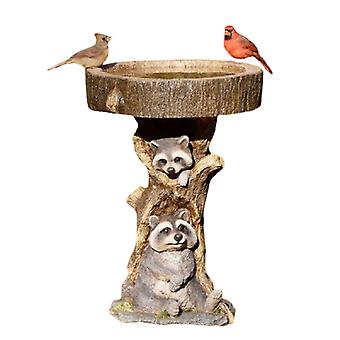 Resin Raccoon Birdbath Animal Statue Outdoor Birdfeeder Resin Decoration Cute Raccoon Garden