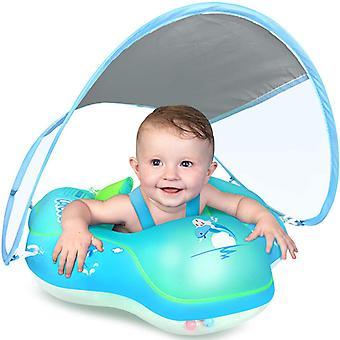 Spedbarn svømming float svømmebasseng flyte med solbeskyttelse deksel