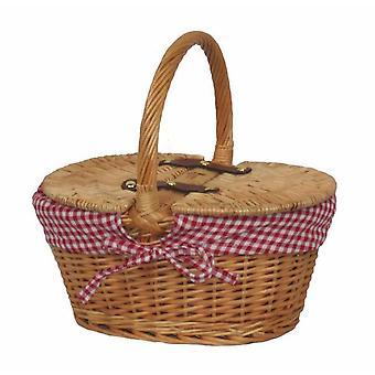Child's Lined Oval Lidded Picnic Basket