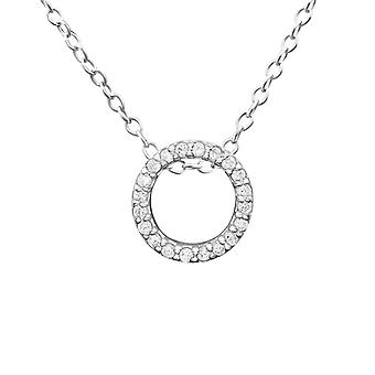 Circle - 925 Sterling Silver Jewelled Necklaces - W20110X