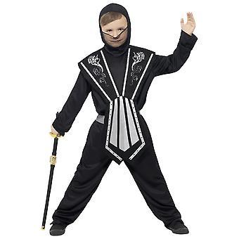 Costumi bambini ninja Kids costume nero-argento