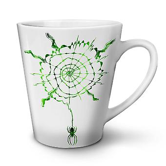 Spider Web Spiral NEW White Tea Coffee Ceramic Latte Mug 12 oz | Wellcoda